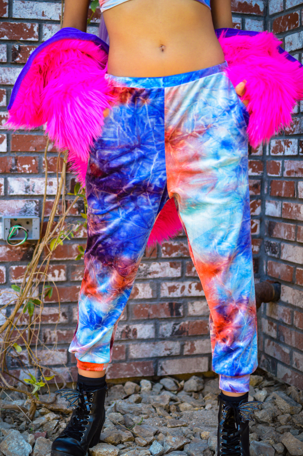 Kiss Me Joggers - Tie Dye blue/red/white