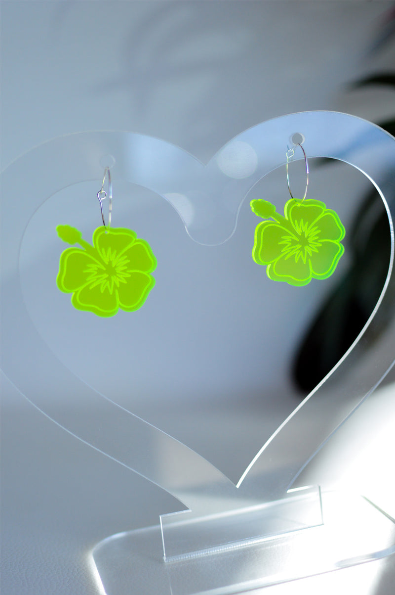 Hibiscus Hoop Earrings - Neon Green