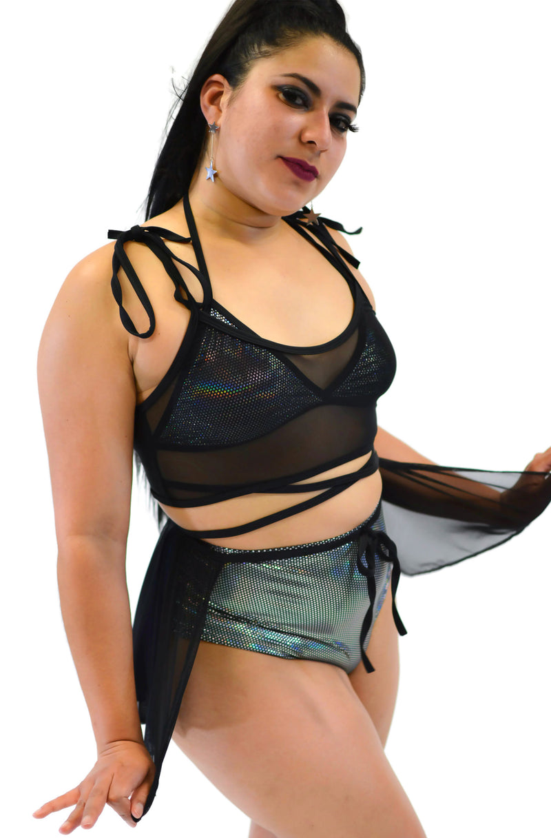 Got My Heart Mesh Top - Black - Rolita Couture
