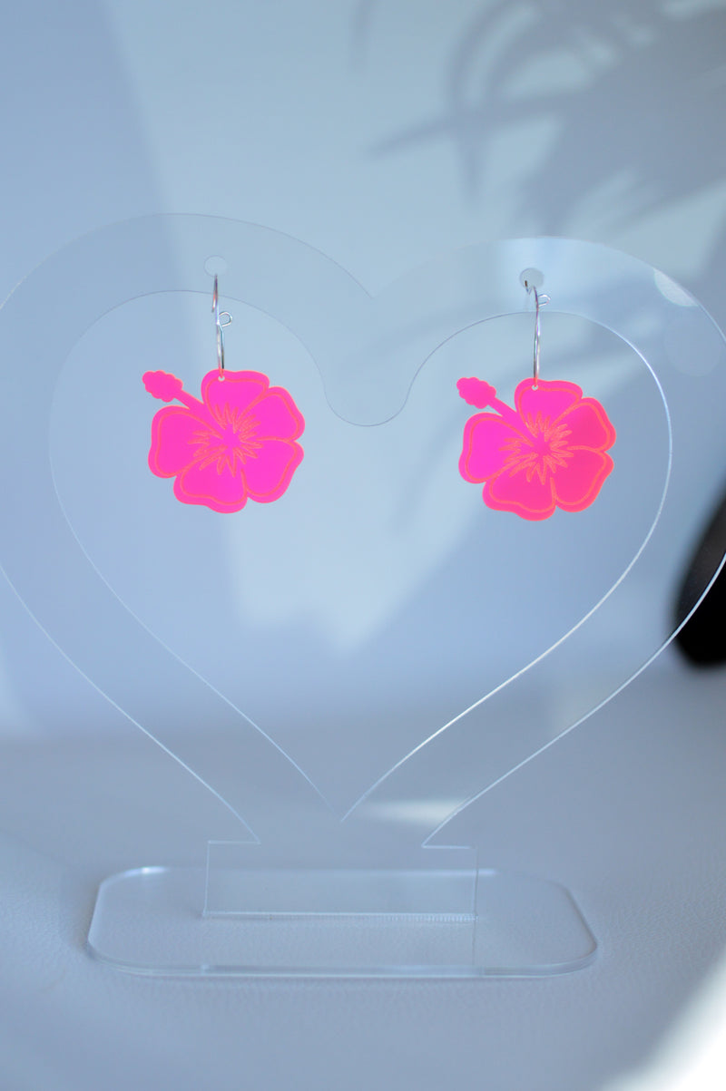 Hibiscus Hoop Earrings - Neon Pink