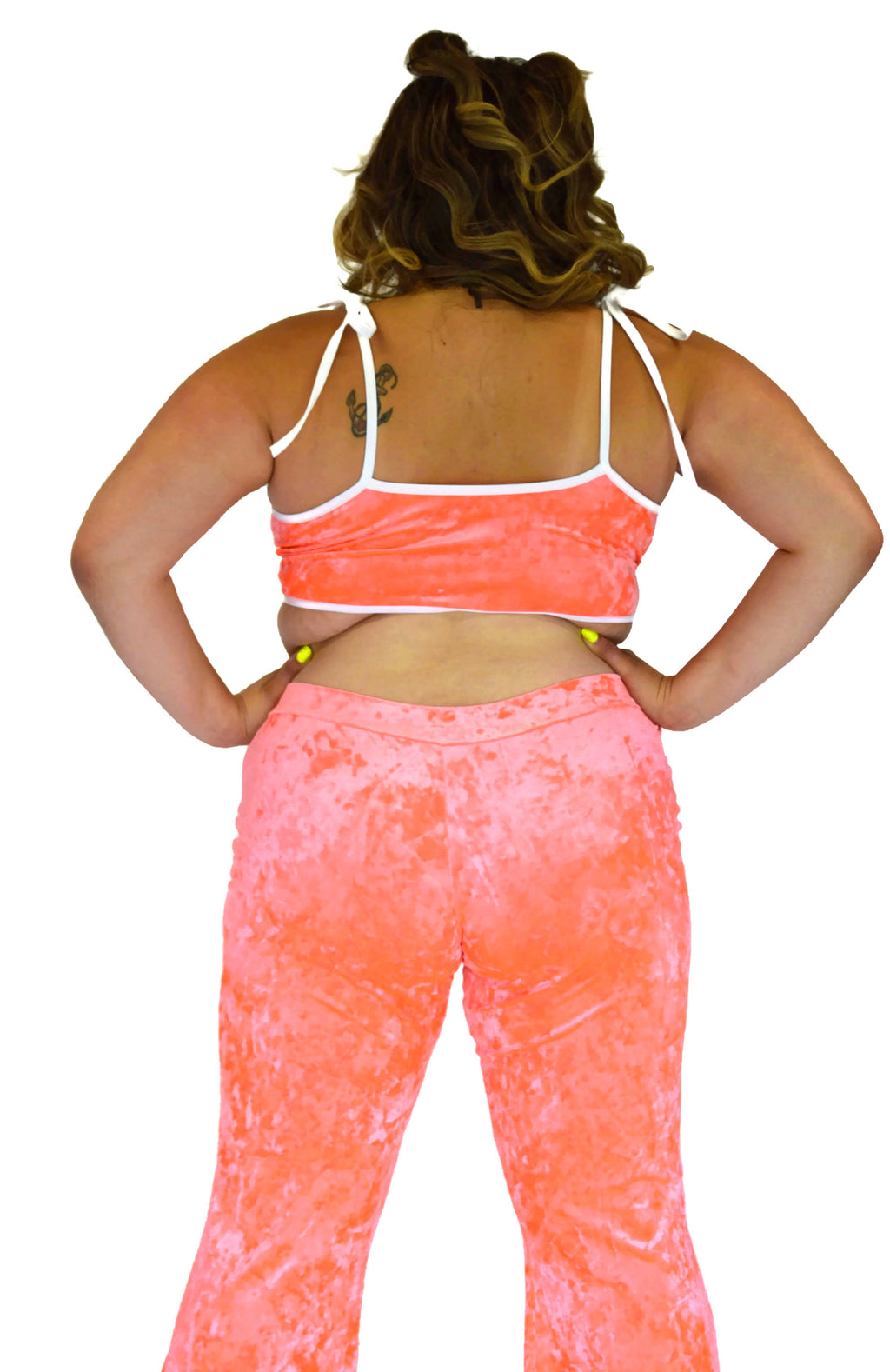 Got My Heart - Neon Coral Velvet - Rolita Couture