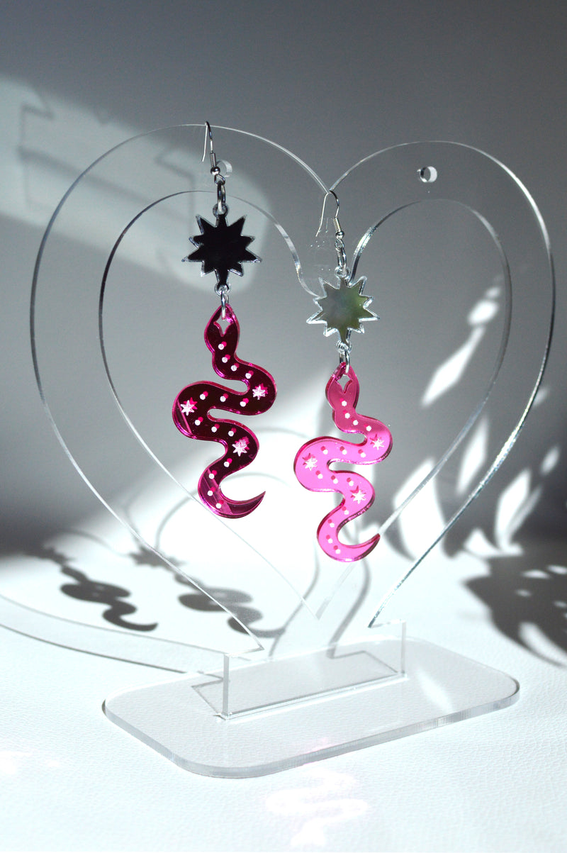 Serpent Earrings - Pink Mirror