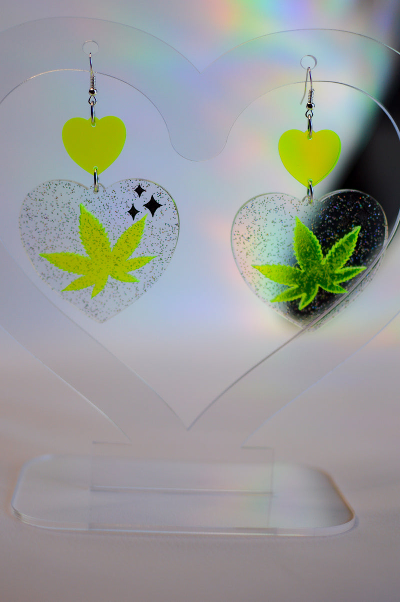 Heart Earrings - Neon Green