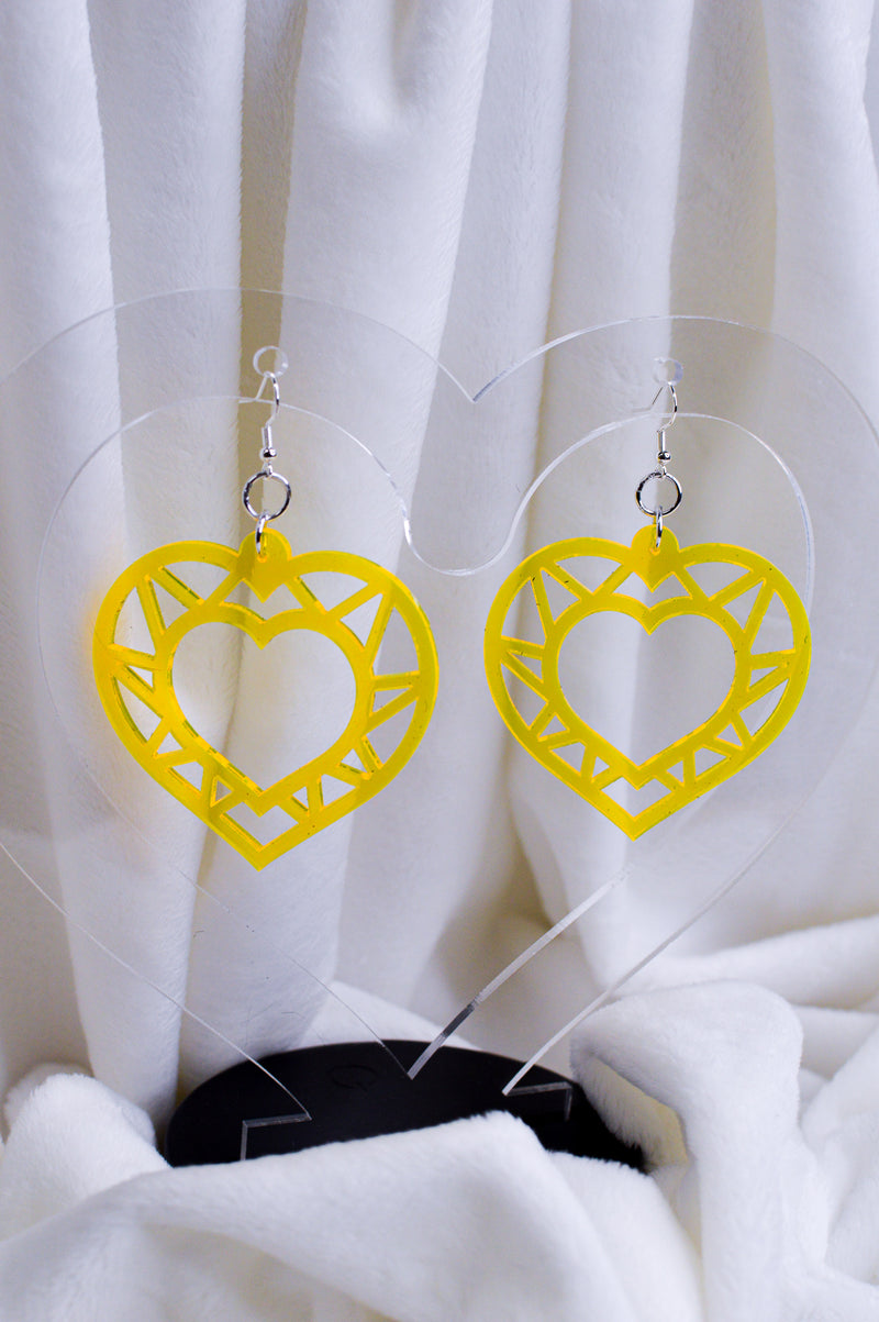Geo Heart Earrings - Yellow