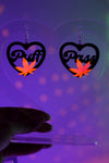 Love Weed Earrings - Neon Pink