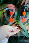 Heart Weed Earrings - Neon Pink