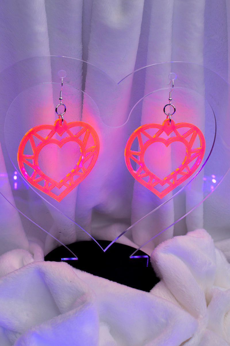Geo Heart Earrings - Pink