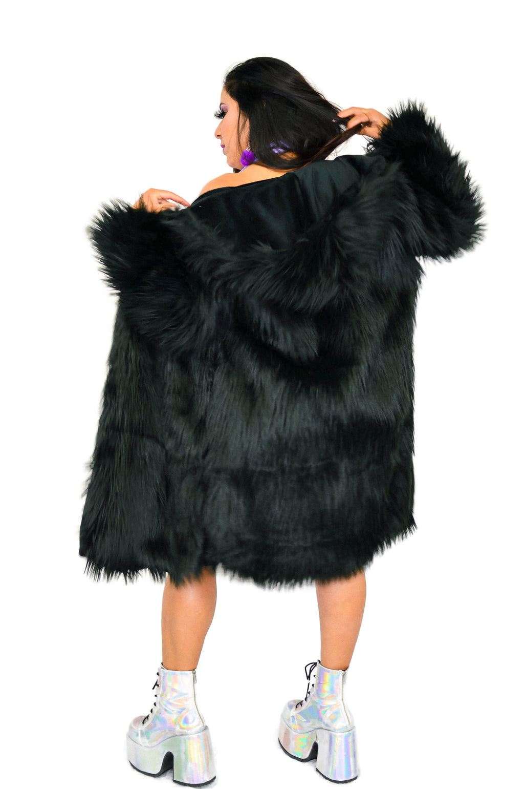 Fur Long Jacket - Black