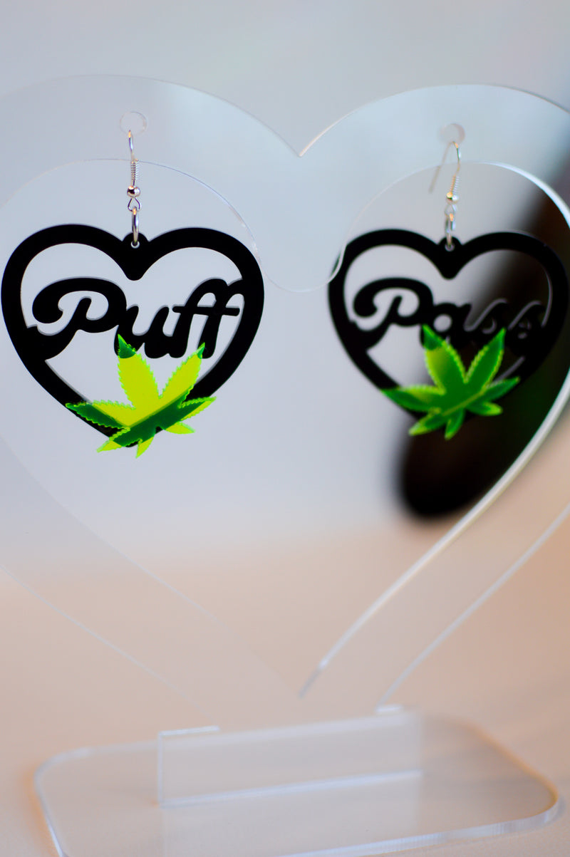 Love Weed Earrings - Neon Green