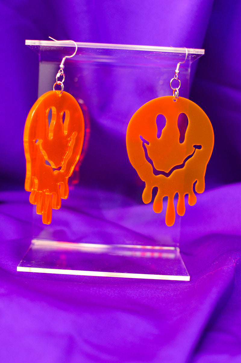 Drippy Happy Face Earrings - Red