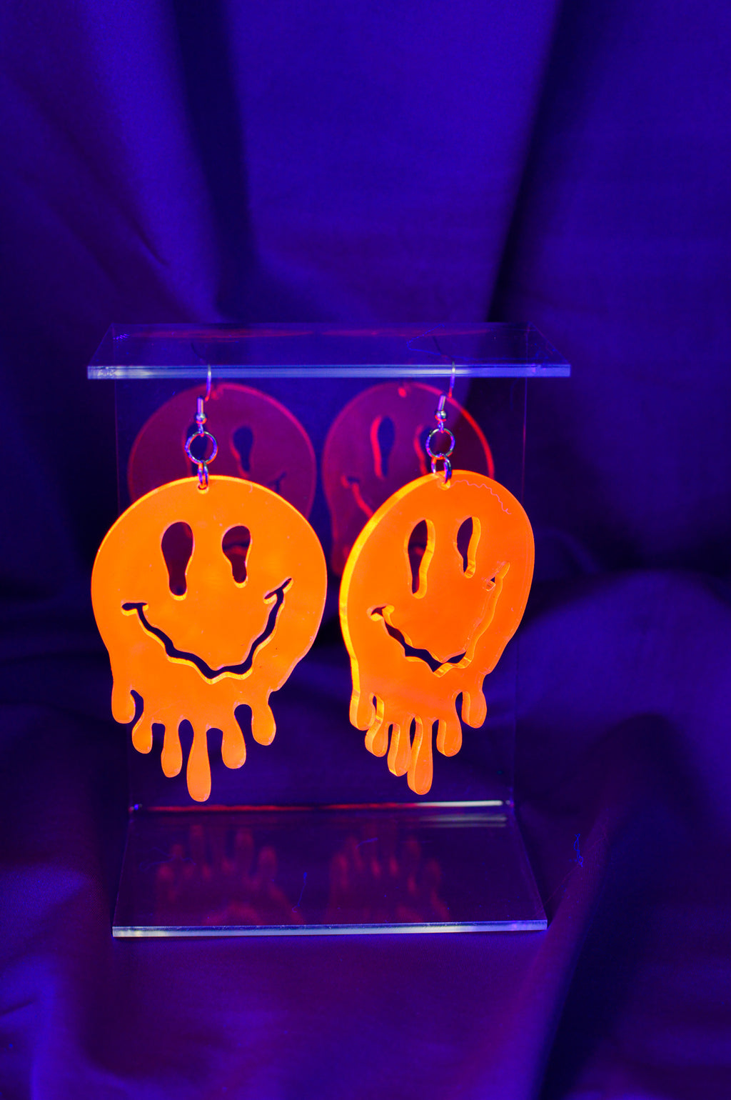 Drippy Happy Face Earrings - Orange