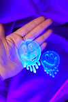 Drippy Happy Face Earrings - Blue