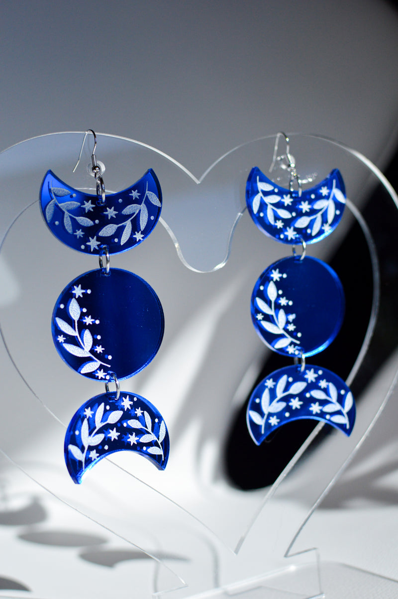 Moon Phase Earrings - Blue Mirror