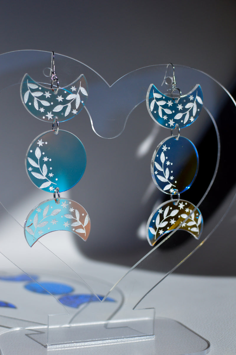 Moon Phase Earrings - Iridescent