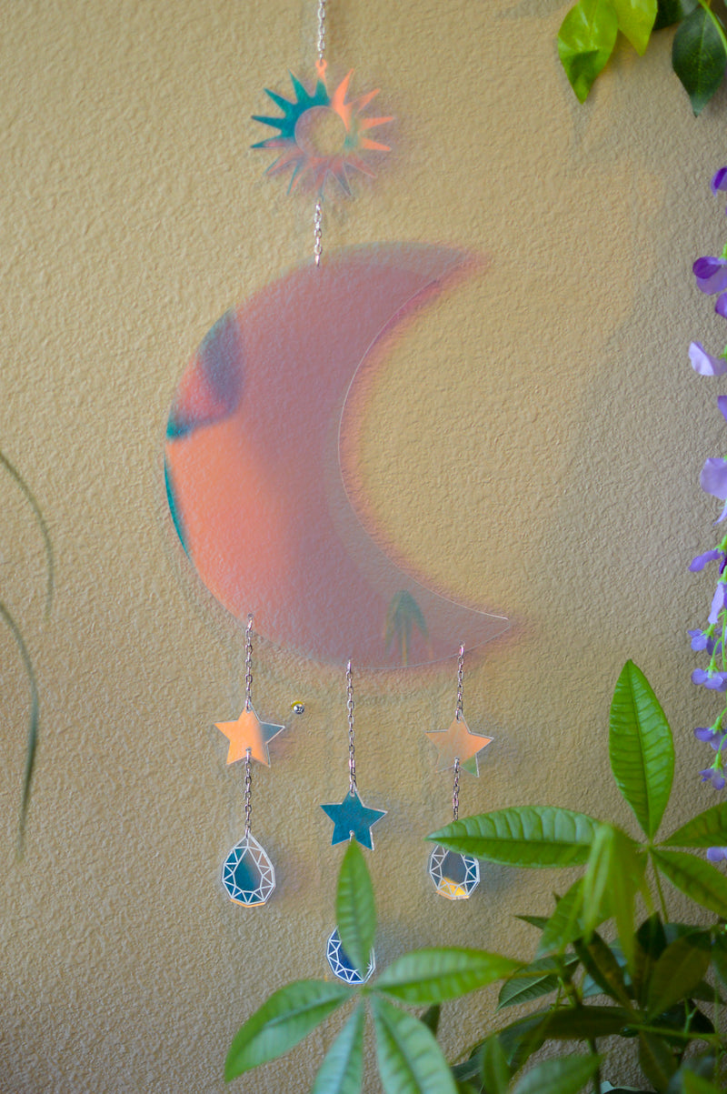 Moon & Stars Wall Hanger - Iridescent