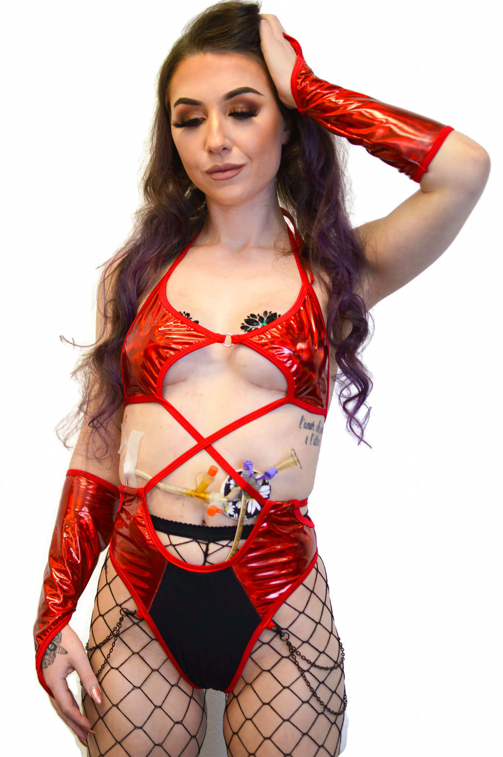 High Voltage Bodysuit - Scarlet - Rolita Couture