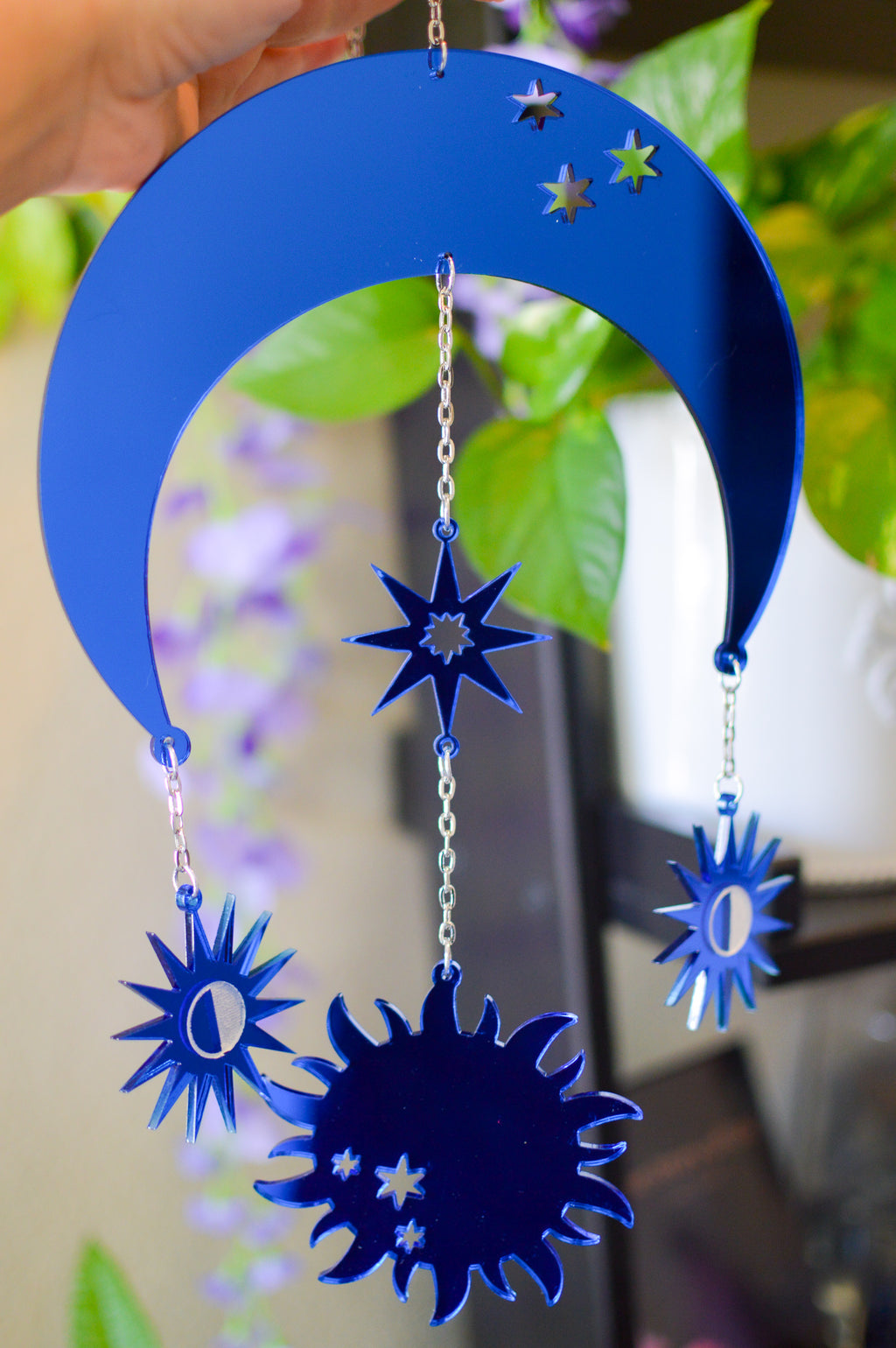 Moon & Sun Wall Hanger - Blue Mirror