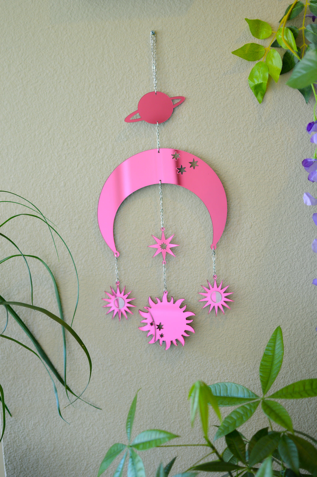 Moon & Sun Wall Hanger - Pink Mirror
