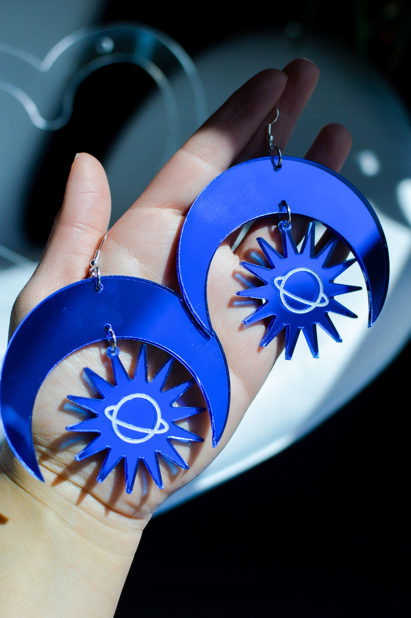 Sun & Moon Earrings - Blue Mirror