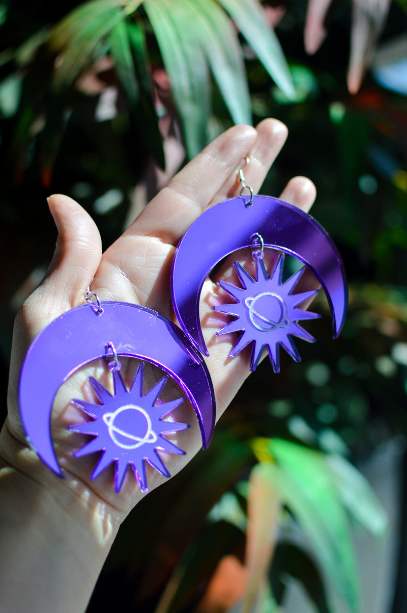 Sun & Moon Earrings - Purple Mirror