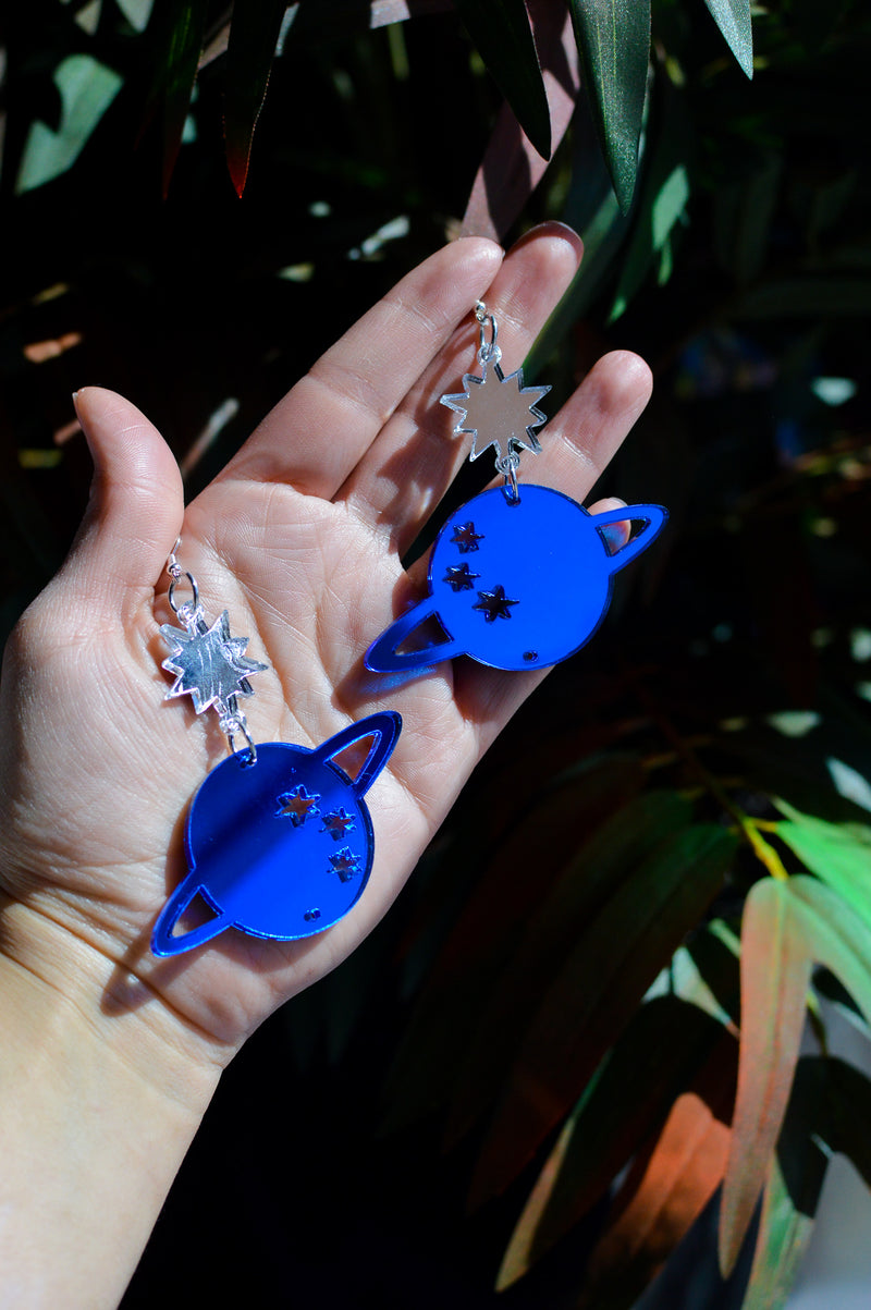 Star Planet Earrings - Blue Mirror