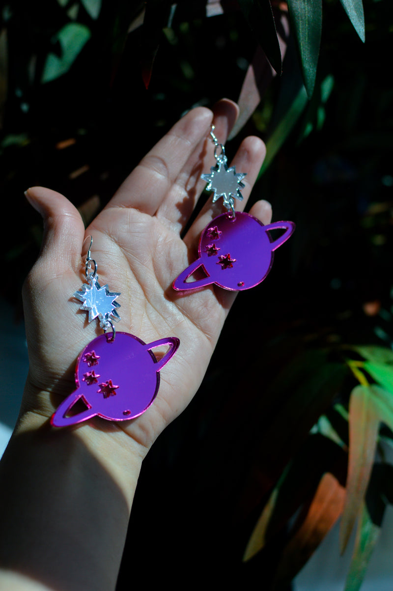Star Planet Earrings - Purple Mirror