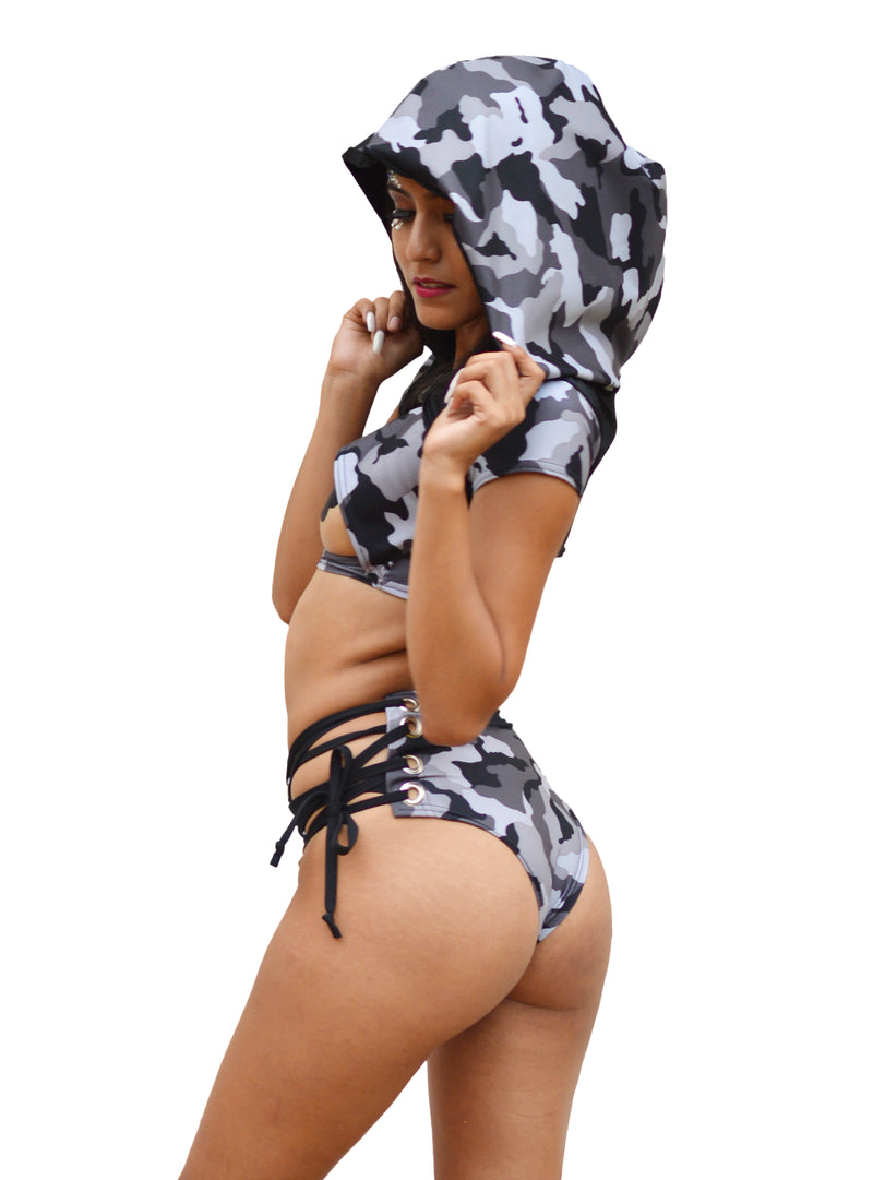 Lace Me Up Bottoms - Gray Camo - Rolita Couture