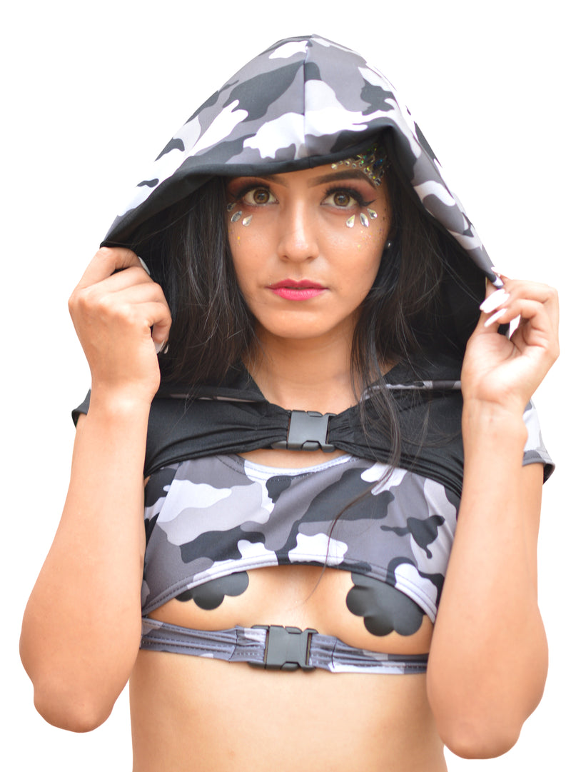 Sin Censura Mini Crop - Gray Camo - Rolita Couture