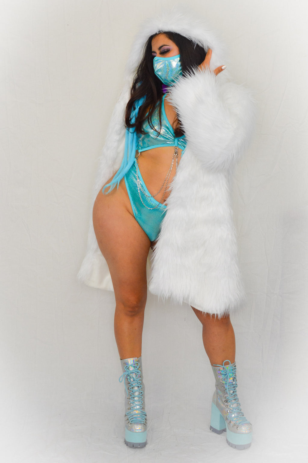 Fur Long Jacket - White - Rolita Couture