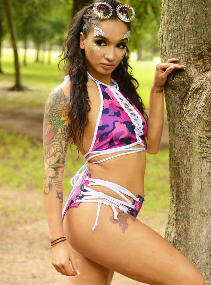 Lace Me Up Bottoms - Berry Camo - Rolita Couture