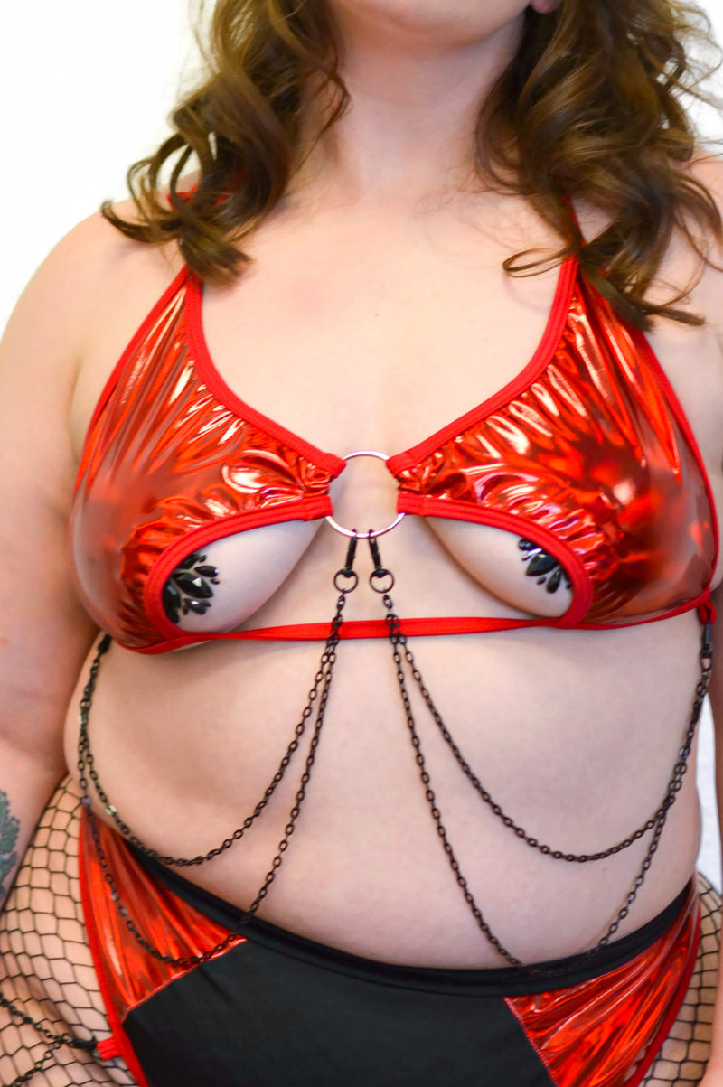 Rebel Chain Top - Scarlet - Rolita Couture