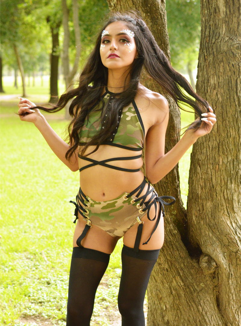 Lace Me Up Bottoms - Olive Camo - Rolita Couture