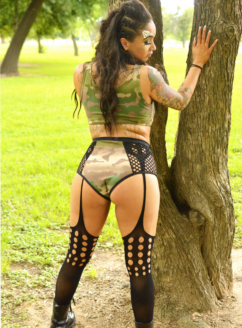 Sin Censura Mini Crop - Olive Camo - Rolita Couture