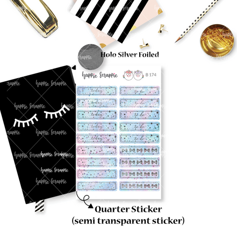 Planner Stickers : Magical Wishes - Holo Silver Foiled Header (B174)