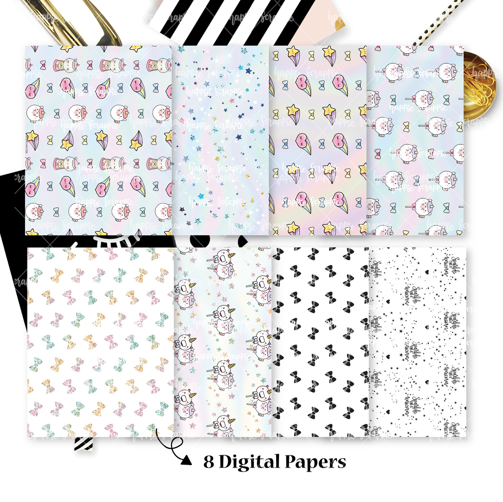 DIGITAL PAPERS - No Physical Product : Magical Wishes / Rainbow Unicorn Themed Digital Papers