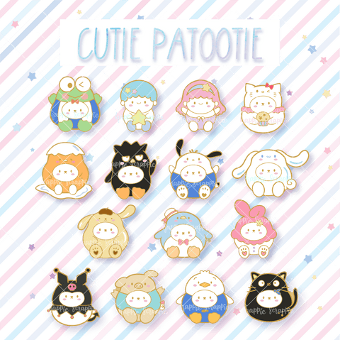 Pins : Cutie Patootie Bundle (Set of 15) //  Magnetic Backing