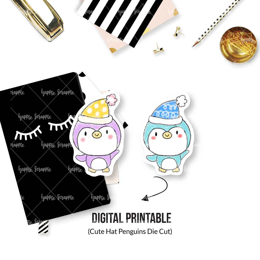 DIGITAL DOWNLOAD! - No Physical Product : Winter Hat Penguins