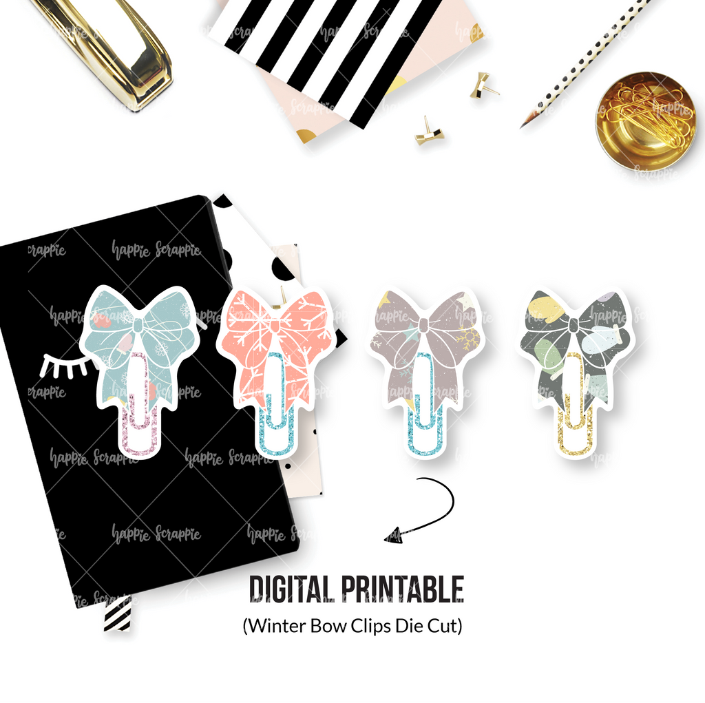 DIGITAL DOWNLOAD! - No Physical Product : Winter Bow Clips