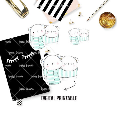 DIGITAL DOWNLOAD! - No Physical Product : Twinning Bears in Scarf