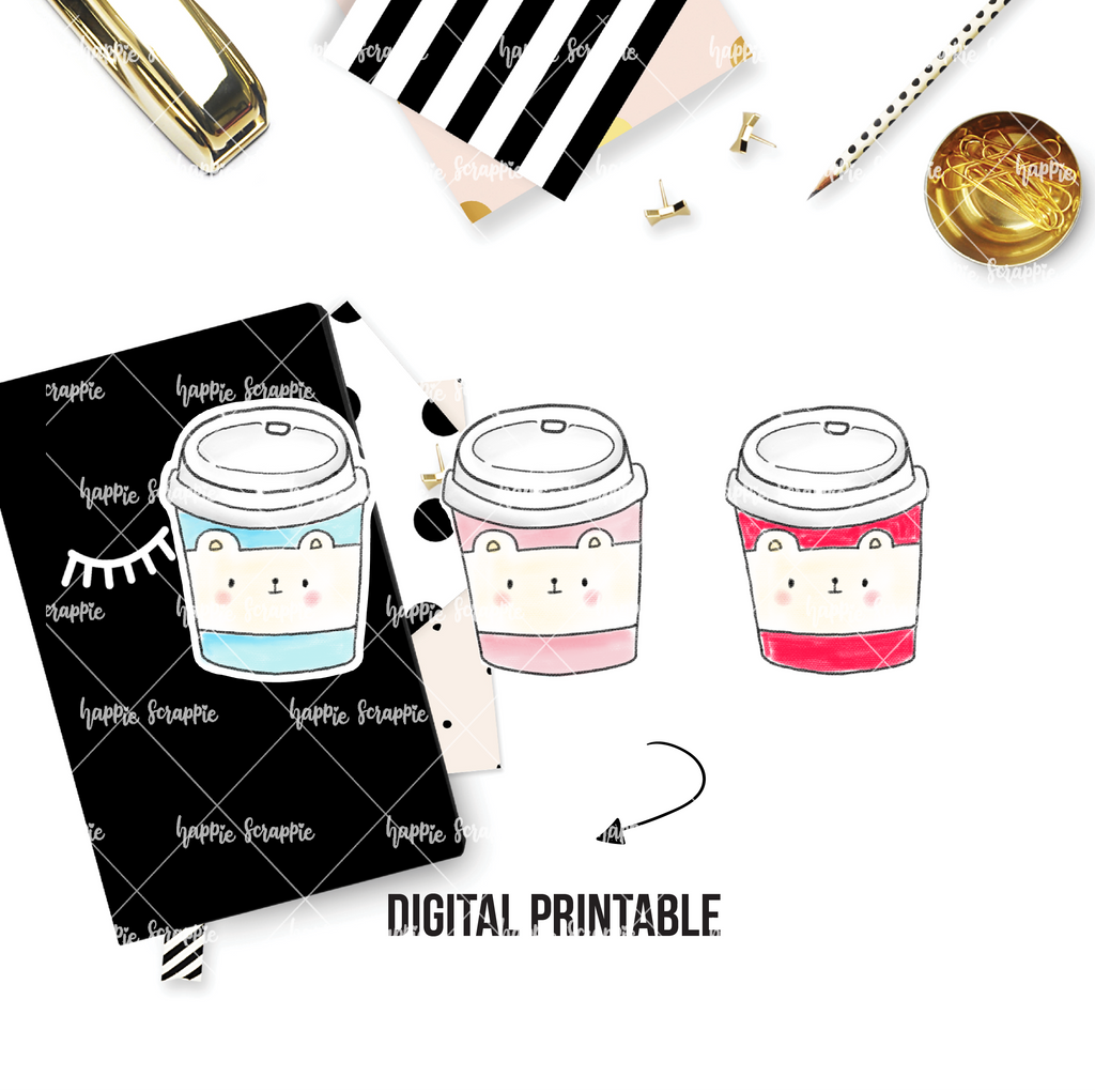DIGITAL DOWNLOAD! - No Physical Product : Coffee Bear Cups / Tumbler