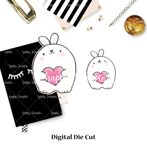DIGITAL DOWNLOAD! - No Physical Product : Heart Bunny