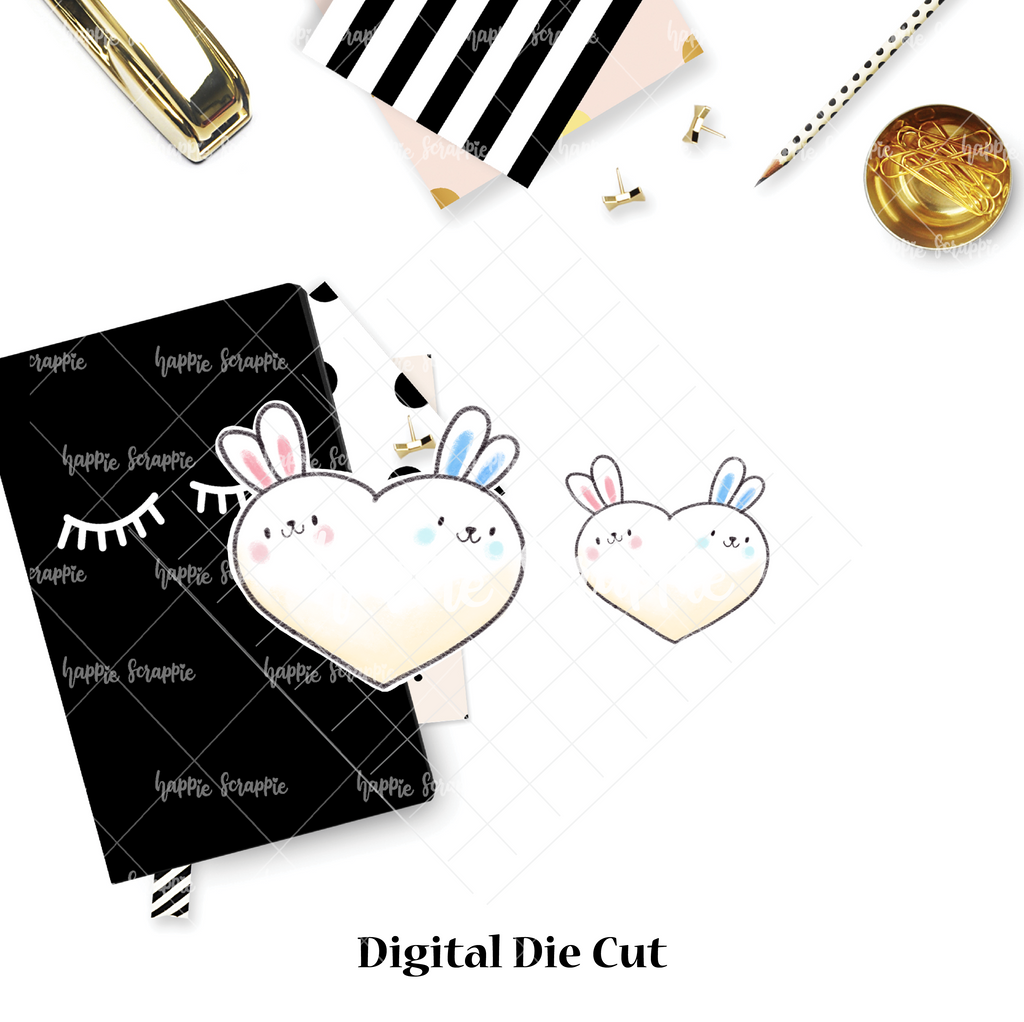 DIGITAL DOWNLOAD! - No Physical Product : Twin Heart Bunnies
