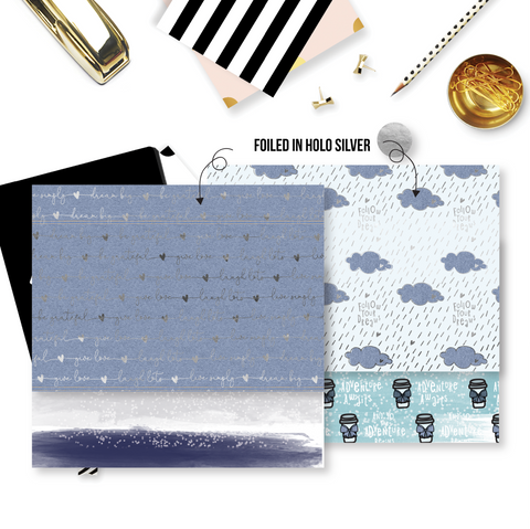 Pattern Papers : Holo Silver Foiled Denim Blues (Set of 4)