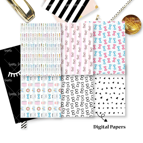 DIGITAL PAPERS - No Physical Product : On My Desk / Stationery Themed Digital Papers