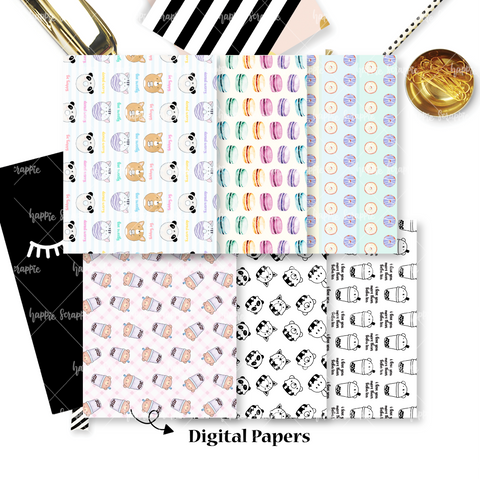 DIGITAL PAPERS - No Physical Product : Tea Party / Dessert Themed Digital Papers
