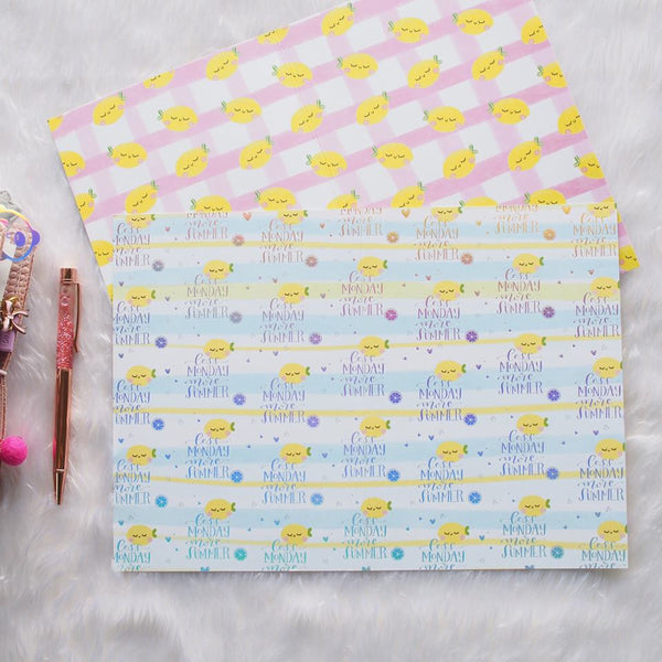 Pattern Papers : Holo Silver Foiled Lemon - Summer Fun (Set of 4)  // Collab with Sea Amy Draw