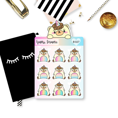 Planner Stickers : Sitting Beariecorn (B027)