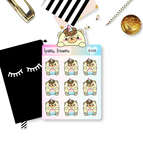 Planner Stickers : Chubby Beariecorn (B028)