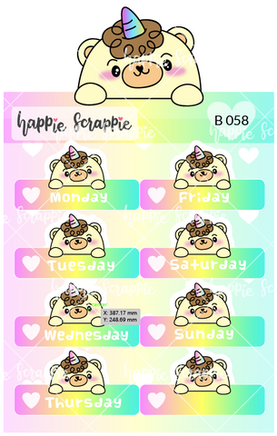 Planner Stickers : Date Cover Beariecorn
