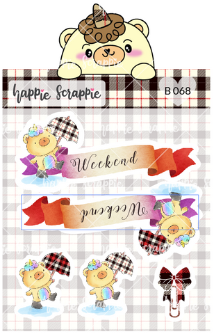 Planner Stickers : Umbrella Beariecorn Weekend Banner (B068)